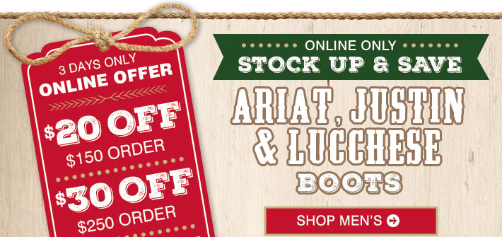 There are 3 Justin Discount Boots coupon codes for you to consider including 2 sales, and 1 free shipping promotional code. Most popular now: Subscribe to Justin Discount Boots Emails for Exclusive Deals and Offers. Latest offer: Free Shipping on $50+%(11).